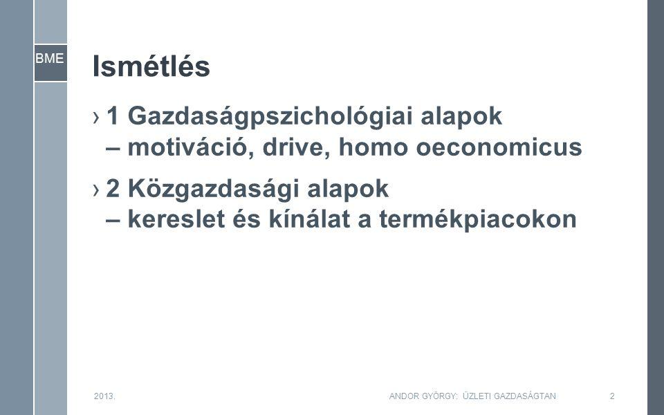 BME Ismétlés ›1 Gazdaságpszichológiai alapok – motiváció, drive, homo oeconomicus ›2 Közgazdasági alapok – kereslet és kínálat a termékpiacokon 2013.ANDOR GYÖRGY: ÜZLETI GAZDASÁGTAN2