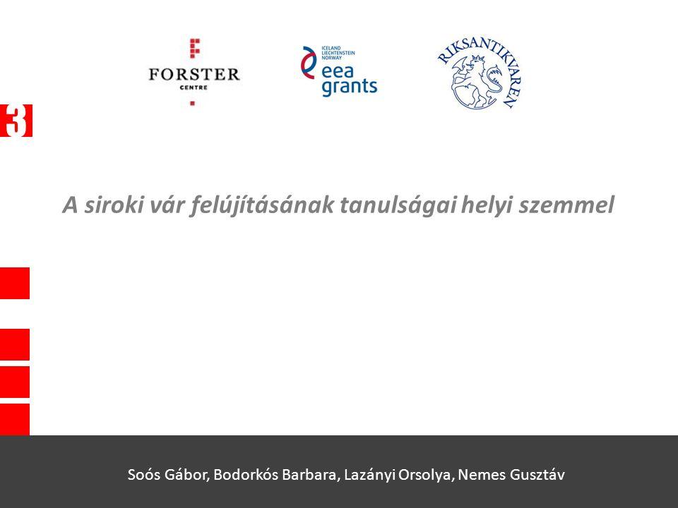 A siroki vár felújításának tanulságai helyi szemmel Soós Gábor, Bodorkós Barbara, Lazányi Orsolya, Nemes Gusztáv 3