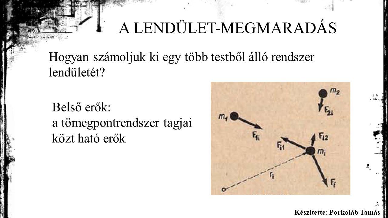 Készítette: Porkoláb Tamás A LENDÜLET-MEGMARADÁS Hogyan számoljuk ki egy több testből álló rendszer lendületét.