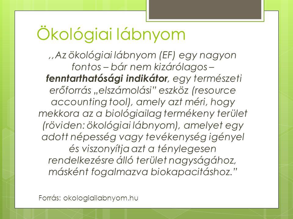 """Ökológiai lábnyom,,Az ökológiai lábnyom (EF) egy nagyon fontos – bár nem kizárólagos – fenntarthatósági indikátor, egy természeti erőforrás """"elszámolási eszköz (resource accounting tool), amely azt méri, hogy mekkora az a biológiailag termékeny terület (röviden: ökológiai lábnyom), amelyet egy adott népesség vagy tevékenység igényel és viszonyítja azt a ténylegesen rendelkezésre álló terület nagyságához, másként fogalmazva biokapacitáshoz. Forrás: okologiailabnyom.hu"""