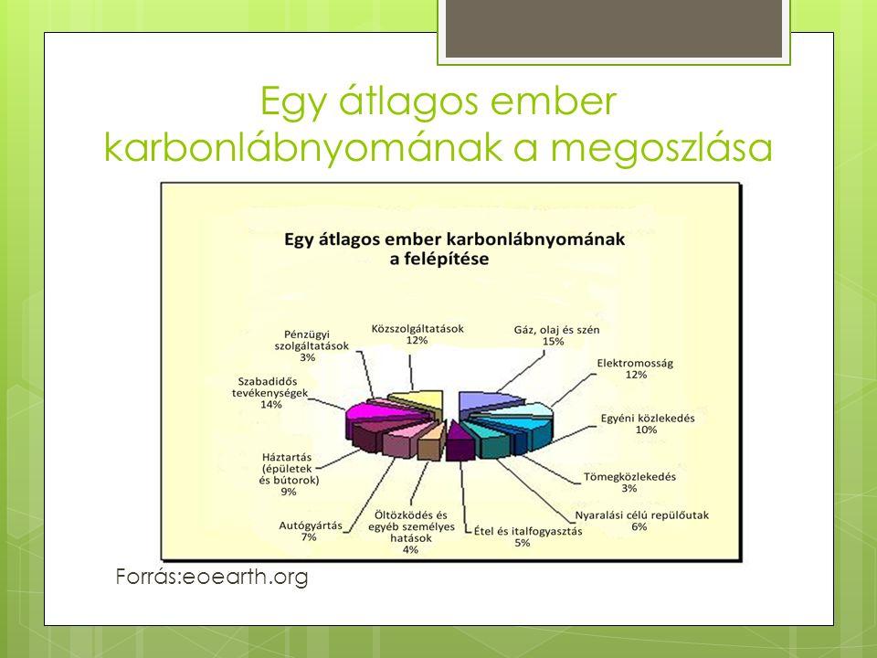 Egy átlagos ember karbonlábnyomának a megoszlása Forrás:eoearth.org
