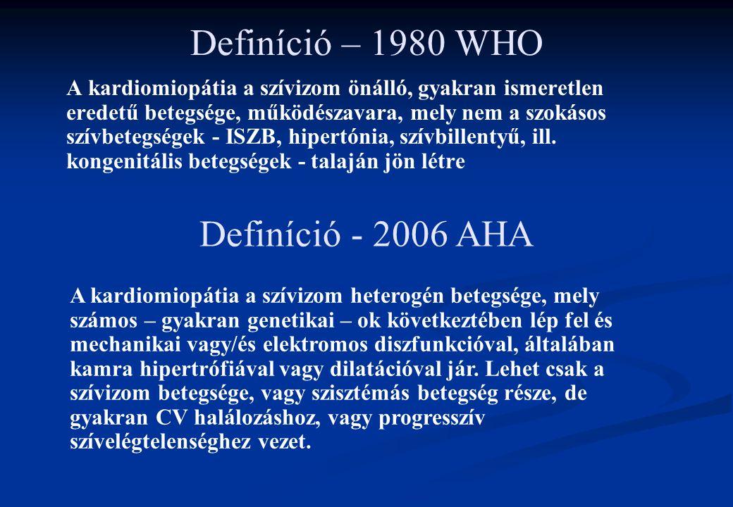 Definíció – 1980 WHO A kardiomiopátia a szívizom önálló, gyakran ismeretlen eredetű betegsége, működészavara, mely nem a szokásos szívbetegségek - ISZ