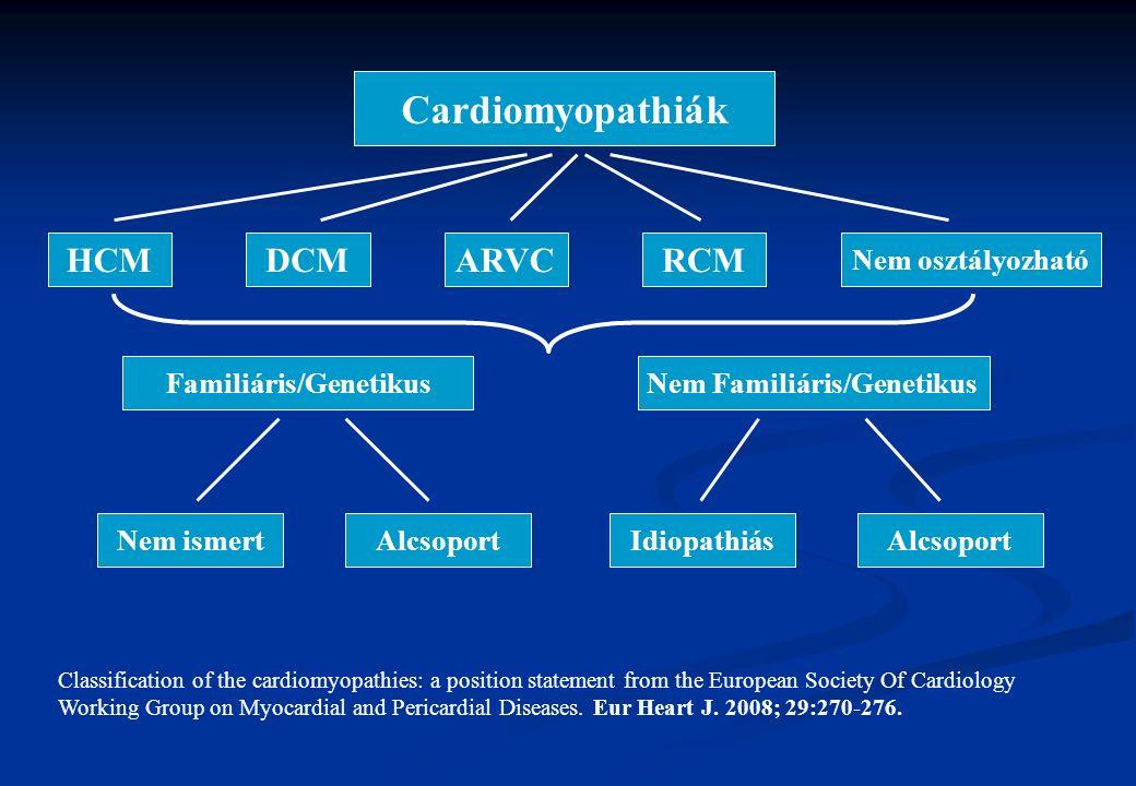 Myocarditis Gyakrabban nem ismerjük fel Gyakrabban nem ismerjük fel Leggyakrabban ártalmatlan lefolyású betegség, de ritkán halálos is lehet (fulmináns), vagy később DCM-be mehet át Leggyakrabban ártalmatlan lefolyású betegség, de ritkán halálos is lehet (fulmináns), vagy később DCM-be mehet át A diagnózist bizonyítani általában igen nehéz, szerológia nem elég; endomyocardialis biopsia bizonyító erejű A diagnózist bizonyítani általában igen nehéz, szerológia nem elég; endomyocardialis biopsia bizonyító erejű Theoretikusan bármelyik kórokozó lehet a háttérben, gyakran atípusos pneumonia mellett (Chlamydia, Mycoplasma), vagy vírusinfectio (Coxsackie, Adenovirus, CMV, EBV, Influenza, Mononucleosis inf.) következtében alakul ki.