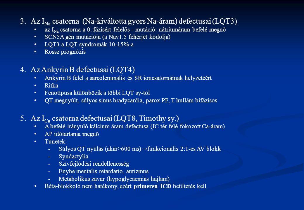 3.Az I Na csatorna (Na-kiváltotta gyors Na-áram) defectusai (LQT3) az I Na csatorna a 0. fázisért felelős - mutáció: nátriumáram befelé megnő SCN5A gé