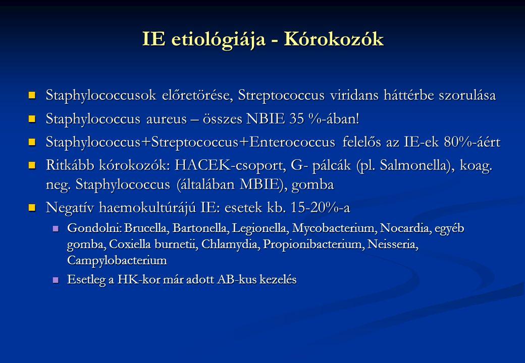 IE etiológiája - Kórokozók Staphylococcusok előretörése, Streptococcus viridans háttérbe szorulása Staphylococcusok előretörése, Streptococcus viridans háttérbe szorulása Staphylococcus aureus – összes NBIE 35 %-ában.