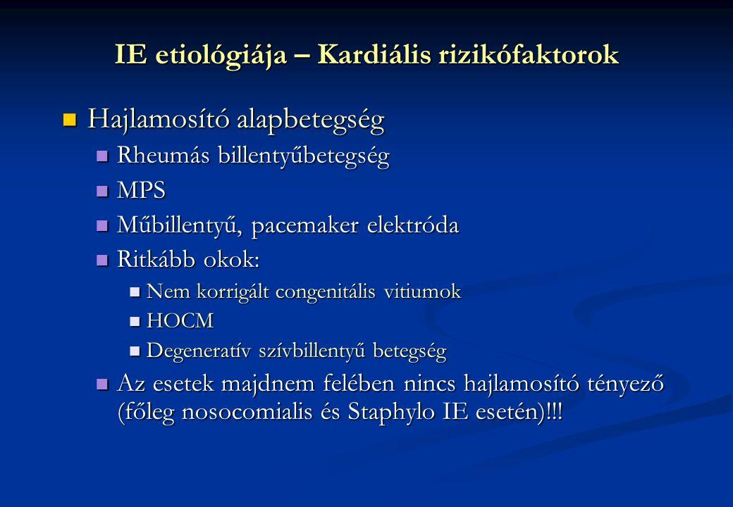 Hajlamosító alapbetegség Hajlamosító alapbetegség Rheumás billentyűbetegség Rheumás billentyűbetegség MPS MPS Műbillentyű, pacemaker elektróda Műbille