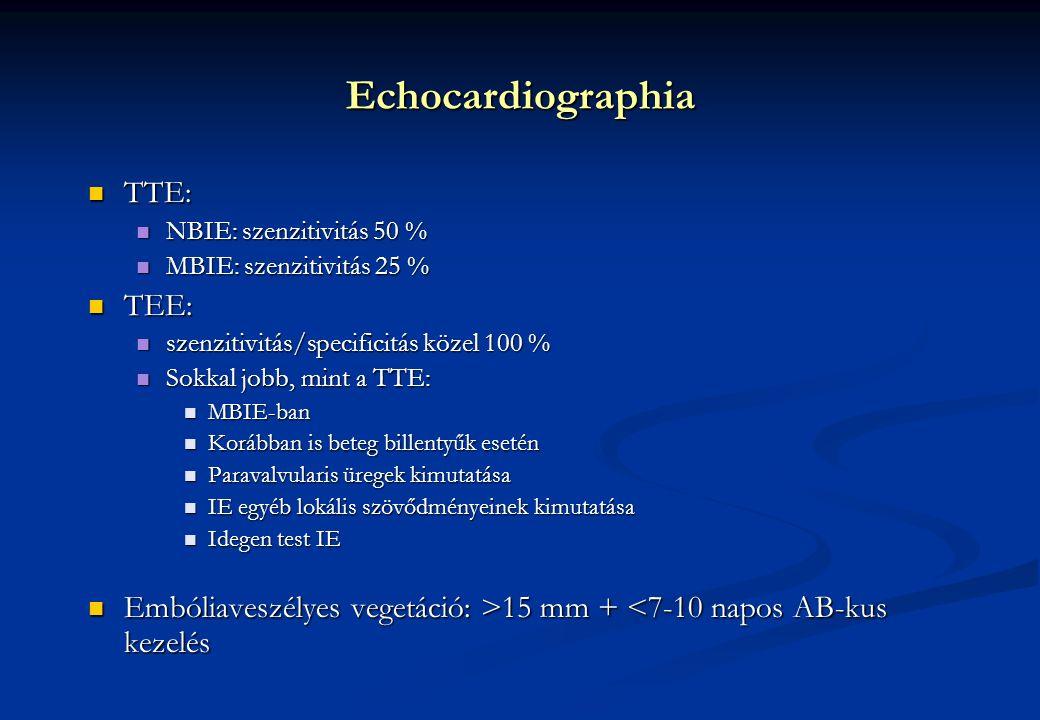 Echocardiographia TTE: TTE: NBIE: szenzitivitás 50 % NBIE: szenzitivitás 50 % MBIE: szenzitivitás 25 % MBIE: szenzitivitás 25 % TEE: TEE: szenzitivitás/specificitás közel 100 % szenzitivitás/specificitás közel 100 % Sokkal jobb, mint a TTE: Sokkal jobb, mint a TTE: MBIE-ban MBIE-ban Korábban is beteg billentyűk esetén Korábban is beteg billentyűk esetén Paravalvularis üregek kimutatása Paravalvularis üregek kimutatása IE egyéb lokális szövődményeinek kimutatása IE egyéb lokális szövődményeinek kimutatása Idegen test IE Idegen test IE Embóliaveszélyes vegetáció: >15 mm + 15 mm + <7-10 napos AB-kus kezelés