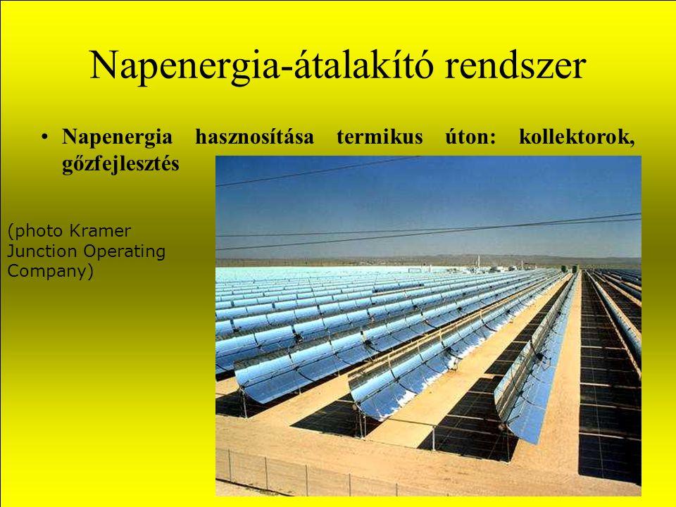 Napenergia-átalakító rendszerek Ha közvetlen elektromos energiára van szükség, a napenergia kétféle módon alakítható át elektromossággá: A napenergia összegyűjtésével gőzt termelünk és hagyományos erőműben hasznosítjuk A napenergiából napelemek segítségével közvetlen elektromos energiaátalakítást végzünk.