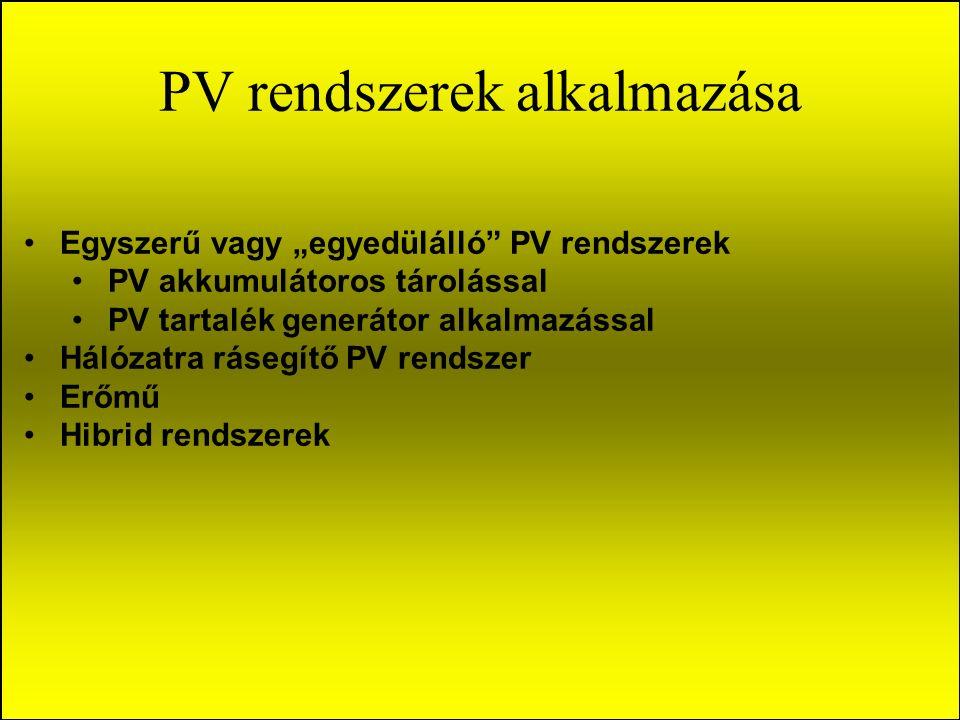 """PV rendszerek alkalmazása Egyszerű vagy """"egyedülálló PV rendszerek PV akkumulátoros tárolással PV tartalék generátor alkalmazással Hálózatra rásegítő PV rendszer Erőmű Hibrid rendszerek"""