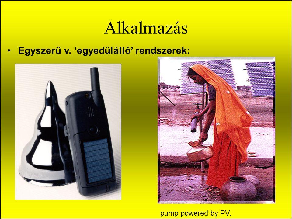 Alkalmazás Egyszerű v. 'egyedülálló' rendszerek: pump powered by PV.