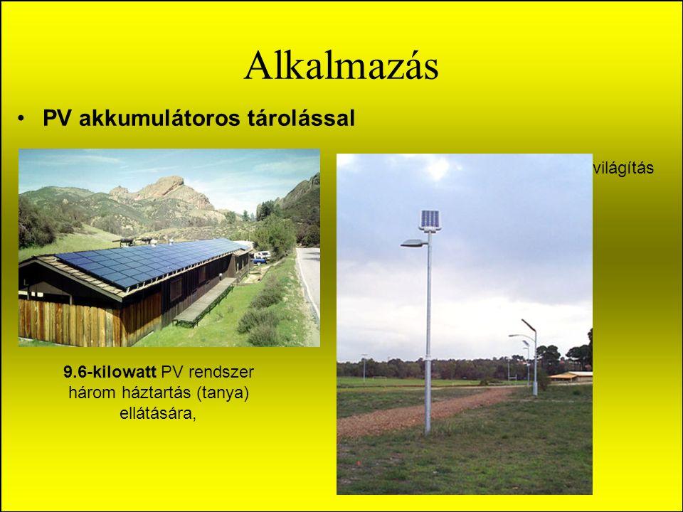 Alkalmazás PV akkumulátoros tárolással világítás 9.6-kilowatt PV rendszer három háztartás (tanya) ellátására,