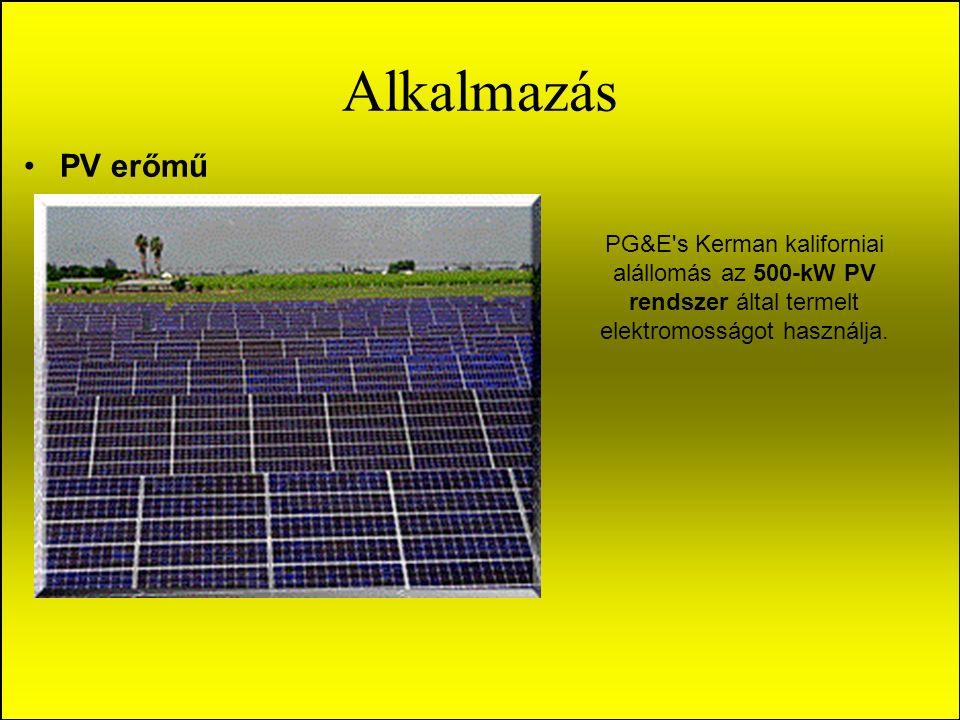 Alkalmazás PV erőmű PG&E s Kerman kaliforniai alállomás az 500-kW PV rendszer által termelt elektromosságot használja.