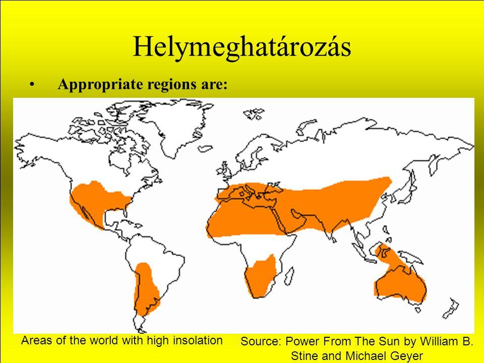 Helymeghatározás A legalkalmasabb területek: USA délnyugati területei, Észak- Mexico, Az észak- afrikai sivatag, Az Arab-félsziget, India nagy része, Közép és nyugat- Australia, Az Andok hegység államainak nagy fennsíkjai, Észak-kelet Brazilia.