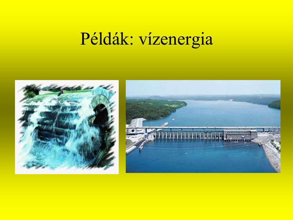 A megújuló energiák fajtái Biomasszából nyerhető energia Vízenergia Szélenergia Tengerhullámzás energiája Geotermikus energia Napenergia