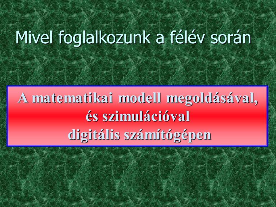 Megvalósítás digitális számítógéppel A különböző műveleteket blokkok valósítják meg paraméterek eredmény kezdeti értékek művelet