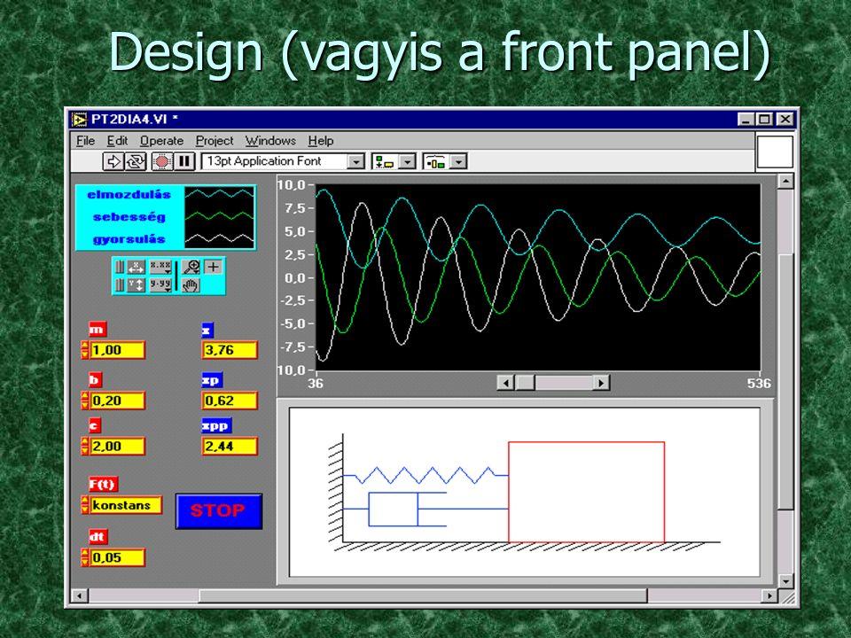 Megoldás n VI-t (virtuális műszert) építünk n építés = design + programozás n programnyelv: G (grafikus)