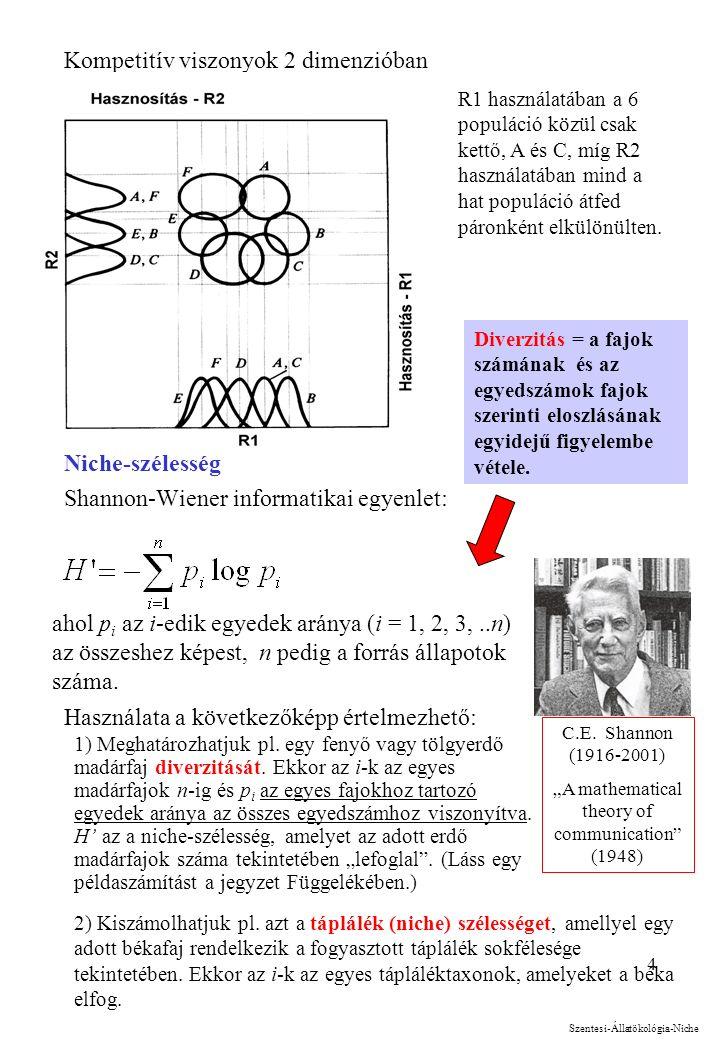4 Kompetitív viszonyok 2 dimenzióban Niche-szélesség Shannon-Wiener informatikai egyenlet: Használata a következőképp értelmezhető: R1 használatában a 6 populáció közül csak kettő, A és C, míg R2 használatában mind a hat populáció átfed páronként elkülönülten.