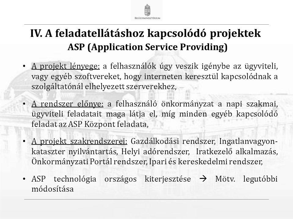 A projekt lényege: a felhasználók úgy veszik igénybe az ügyviteli, vagy egyéb szoftvereket, hogy interneten keresztül kapcsolódnak a szolgáltatónál elhelyezett szerverekhez, A rendszer előnye: a felhasználó önkormányzat a napi szakmai, ügyviteli feladatait maga látja el, míg minden egyéb kapcsolódó feladat az ASP Központ feladata, A projekt szakrendszerei: Gazdálkodási rendszer, Ingatlanvagyon- kataszter nyilvántartás, Helyi adórendszer, Iratkezelő alkalmazás, Önkormányzati Portál rendszer, Ipari és kereskedelmi rendszer, ASP technológia országos kiterjesztése  Mötv.