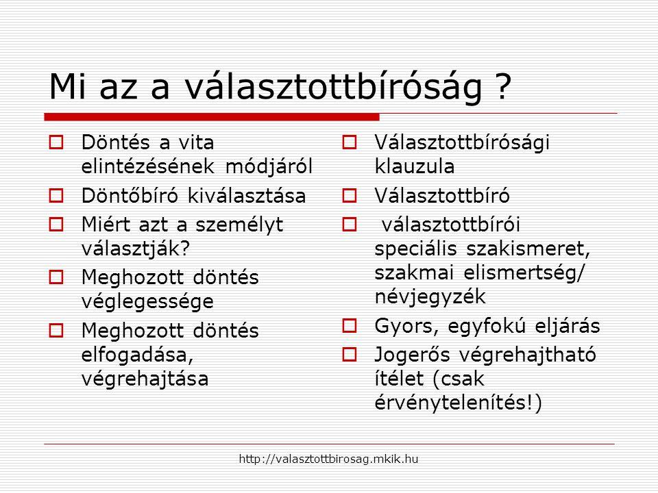 http://valasztottbirosag.mkik.hu  Előnyök  Gyors  Egyfokú  Költséghatékony  Szakértelem  Szabadság az eljárás szabályainak meghatározása terén  Hátrányok  Egyfokú eljárás.