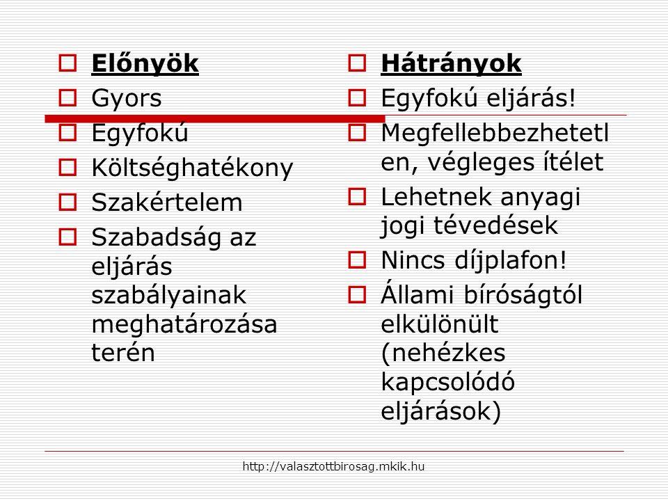 http://valasztottbirosag.mkik.hu  Előnyök  Gyors  Egyfokú  Költséghatékony  Szakértelem  Szabadság az eljárás szabályainak meghatározása terén 