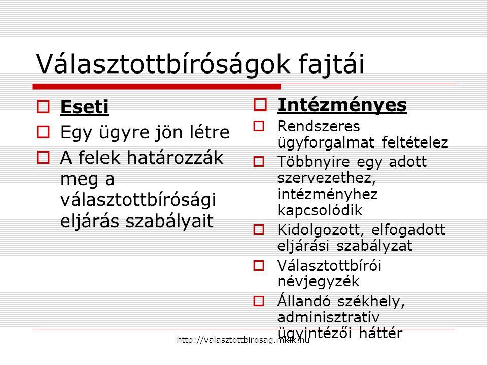 http://valasztottbirosag.mkik.hu Választottbíróságok fajtái  Eseti  Egy ügyre jön létre  A felek határozzák meg a választottbírósági eljárás szabályait  Intézményes  Rendszeres ügyforgalmat feltételez  Többnyire egy adott szervezethez, intézményhez kapcsolódik  Kidolgozott, elfogadott eljárási szabályzat  Választottbírói névjegyzék  Állandó székhely, adminisztratív ügyintézői háttér