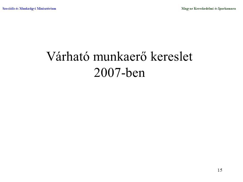15 Várható munkaerő kereslet 2007-ben Szociális és Munkaügyi MinisztériumMagyar Kereskedelmi és Iparkamara