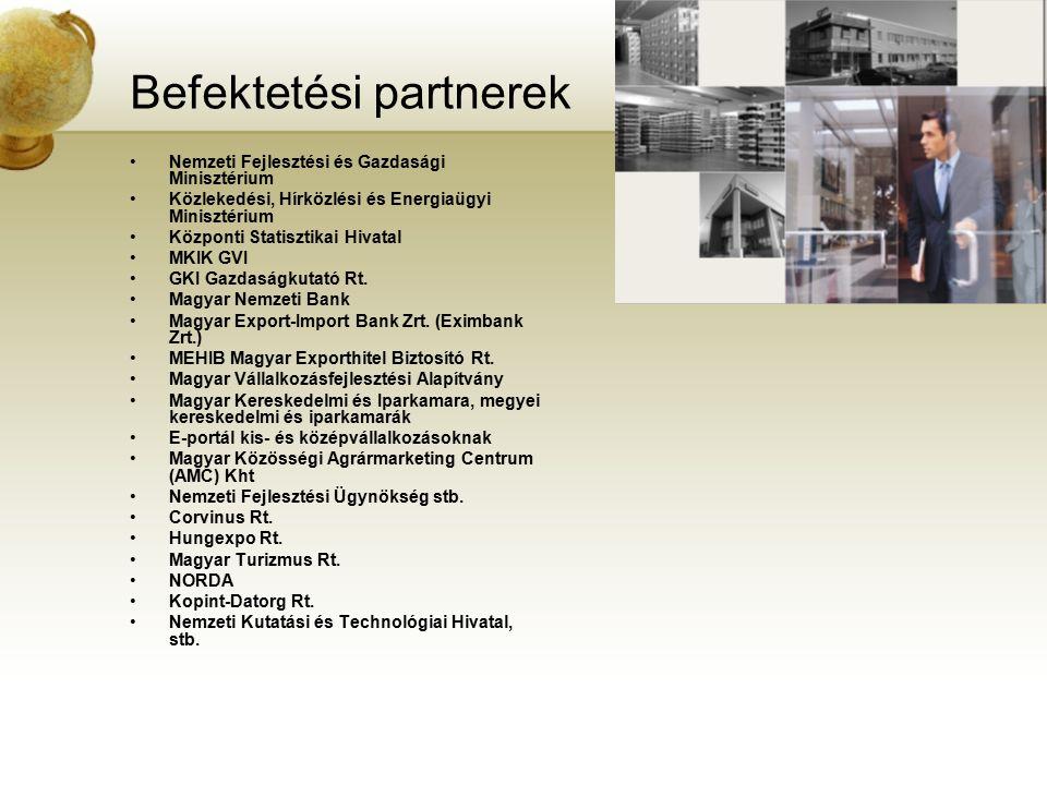 Befektetési partnerek Nemzeti Fejlesztési és Gazdasági Minisztérium Közlekedési, Hírközlési és Energiaügyi Minisztérium Központi Statisztikai Hivatal