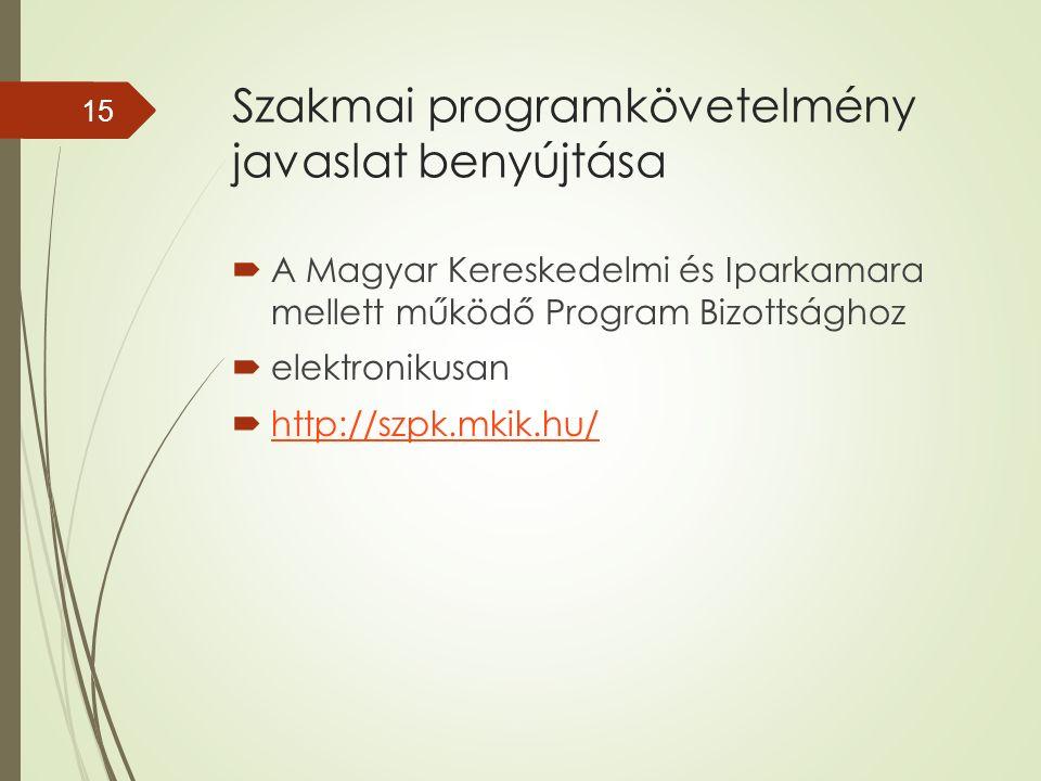 Szakmai programkövetelmény javaslat benyújtása  A Magyar Kereskedelmi és Iparkamara mellett működő Program Bizottsághoz  elektronikusan  http://szpk.mkik.hu/ http://szpk.mkik.hu/ 15