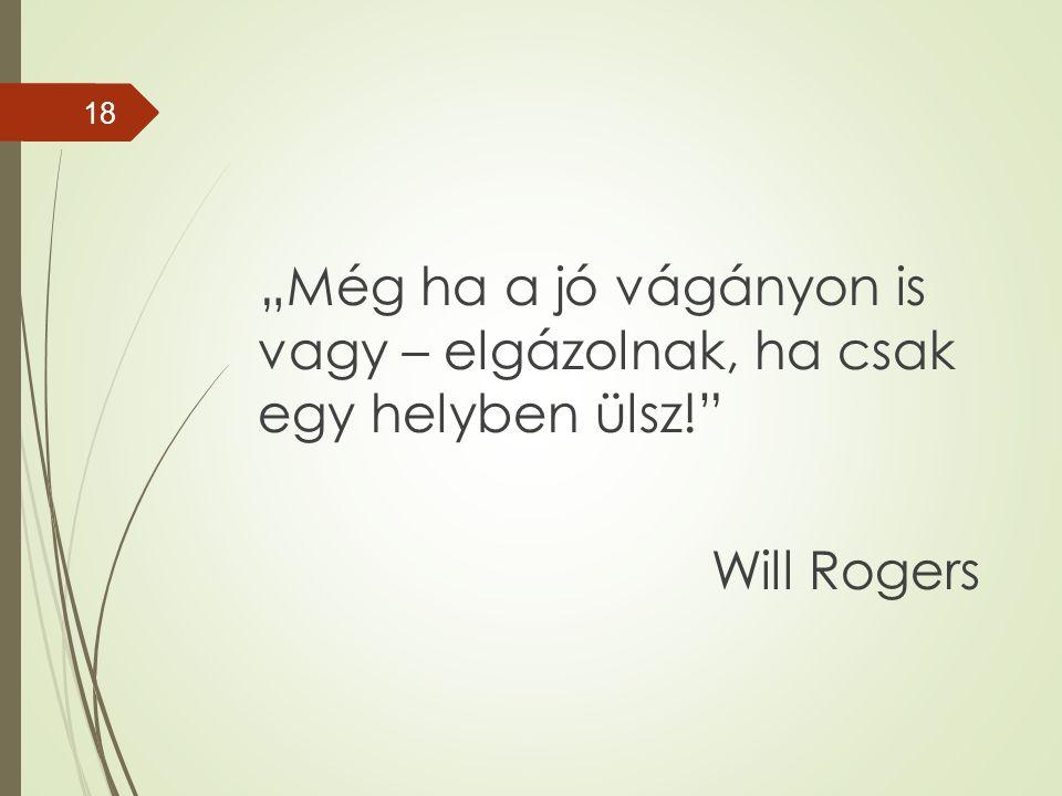 """""""Még ha a jó vágányon is vagy – elgázolnak, ha csak egy helyben ülsz! Will Rogers 18"""