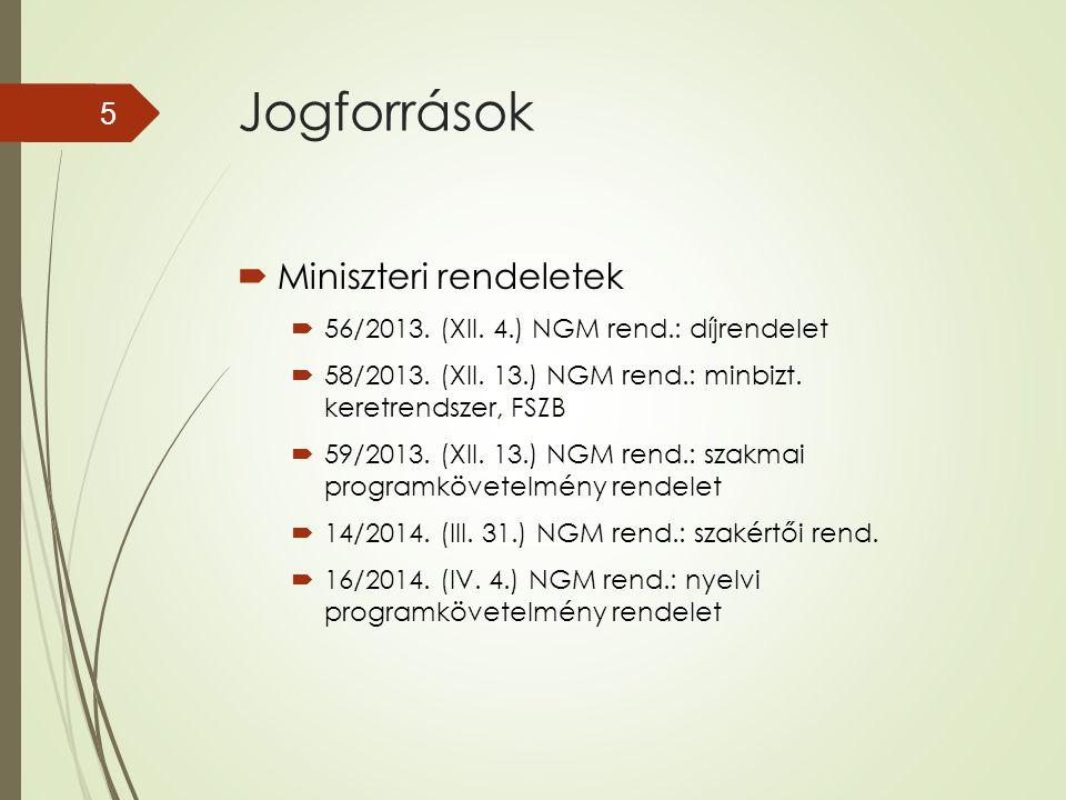 Jogforrások  Miniszteri rendeletek  56/2013. (XII. 4.) NGM rend.: díjrendelet  58/2013. (XII. 13.) NGM rend.: minbizt. keretrendszer, FSZB  59/201