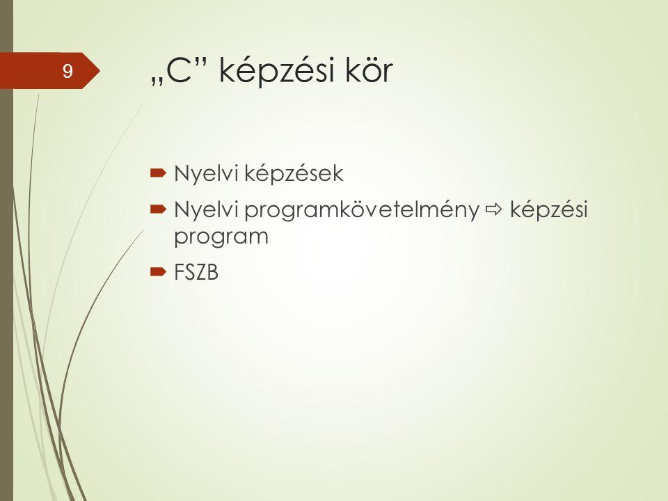 """""""C"""" képzési kör  Nyelvi képzések  Nyelvi programkövetelmény  képzési program  FSZB 9"""