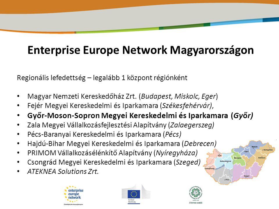 Enterprise Europe Network - szolgáltatások Üzleti partnerkeresés Technológiai, innovációs tanácsadás, fejlesztés, partnerkeresés Tanácsadás (iparjogvédelem, forráshoz segítés, CE jelölés, stb.) Határon átnyúló szolgáltatás támogatása, információ biztosítása Információszolgáltatás az EU jogalkotásával és a törvények, rendelkezések végrehajtásával kapcsolatban Innováció-menedzsment (IMP 3 rove eszköz) Kölcsönös kommunikációt biztosítunk a vállalkozások és EU-s döntéshozók között Rendezvényszervezés és lebonyolítás (üzletember találkozók, céges látogatások, vásárokon történő részvétel, stb.)