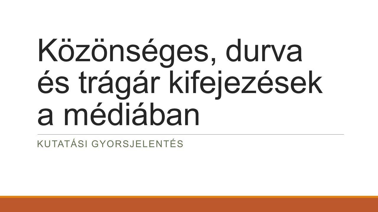 A kutatás célja A kutatás célja annak vizsgálata, hogy egy meghatározott időszakon belül milyen gyakorisággal jelennek meg trágár kifejezések a mainstream, szerkesztett tartalmakat szolgáltató magyar nyelvű médiában (televízió, kereskedelmi rádió, internet).
