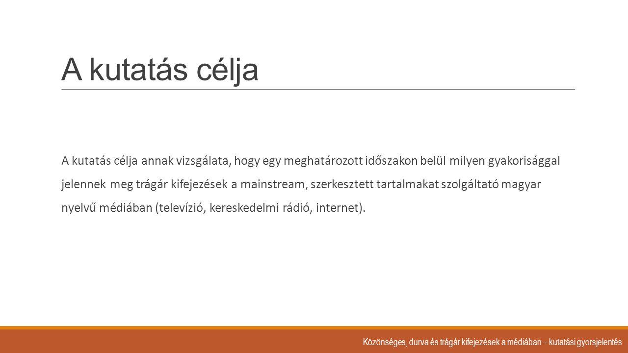 A kutatásba bevont médiumok: 1.A Nielsen közönségmérés adatai szerint a 20 legnézettebb magyar nyelvű TV csatorna ◦Vizsgált időszak: ◦szeptember 17.