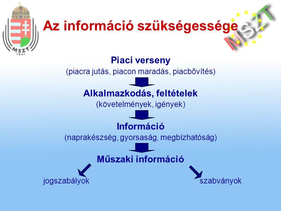 Az információ szükségessége Piaci verseny (piacra jutás, piacon maradás, piacbővítés) Alkalmazkodás, feltételek (követelmények, igények) Információ (naprakészség, gyorsaság, megbízhatóság) Műszaki információ jogszabályokszabványok