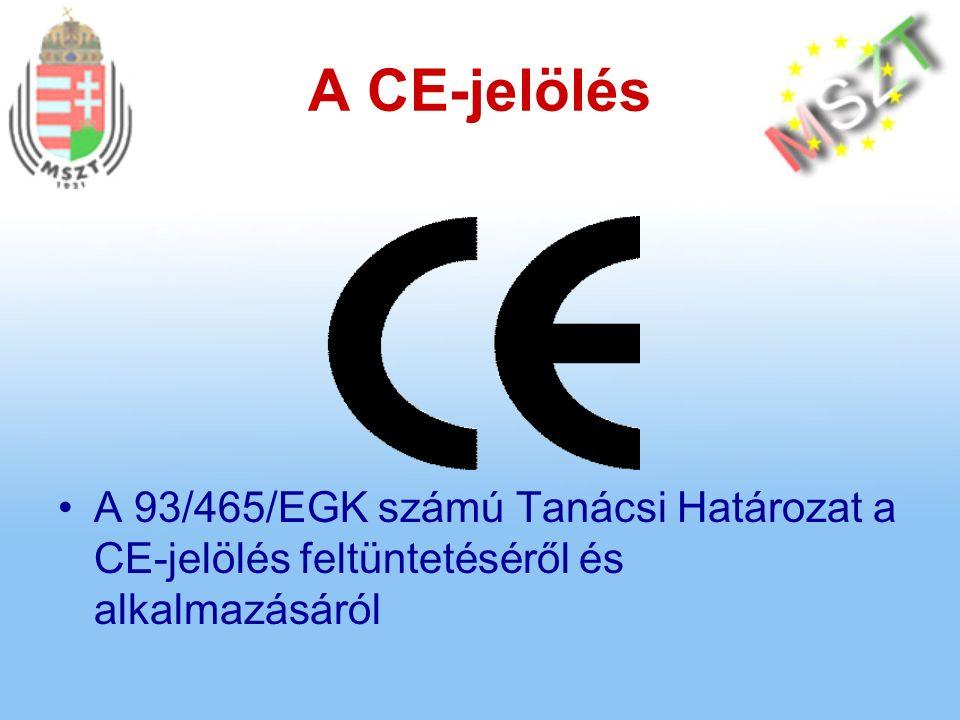 A CE-jelölés A 93/465/EGK számú Tanácsi Határozat a CE-jelölés feltüntetéséről és alkalmazásáról