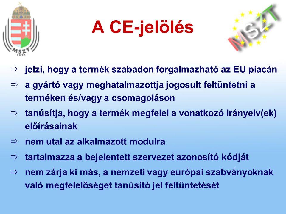 A CE-jelölés  jelzi, hogy a termék szabadon forgalmazható az EU piacán  a gyártó vagy meghatalmazottja jogosult feltüntetni a terméken és/vagy a csomagoláson  tanúsítja, hogy a termék megfelel a vonatkozó irányelv(ek) előírásainak  nem utal az alkalmazott modulra  tartalmazza a bejelentett szervezet azonosító kódját  nem zárja ki más, a nemzeti vagy európai szabványoknak való megfelelőséget tanúsító jel feltüntetését