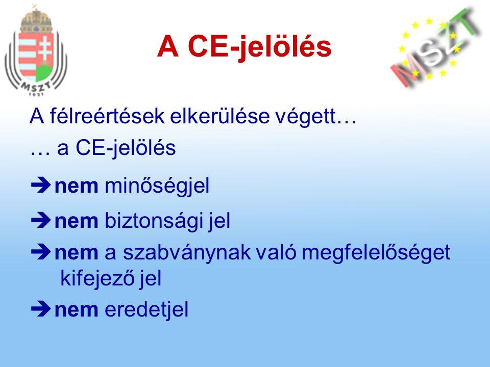 A CE-jelölés A félreértések elkerülése végett… … a CE-jelölés  nem minőségjel  nem biztonsági jel  nem a szabványnak való megfelelőséget kifejező jel  nem eredetjel