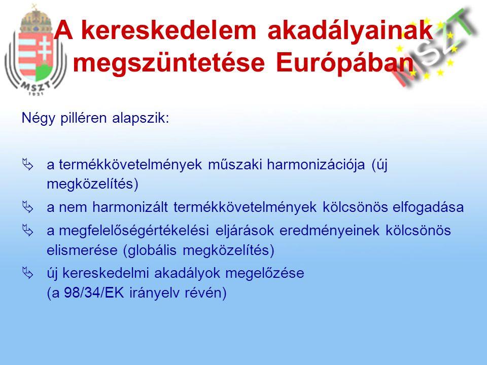 A kereskedelem akadályainak megszüntetése Európában Négy pilléren alapszik:  a termékkövetelmények műszaki harmonizációja (új megközelítés)  a nem harmonizált termékkövetelmények kölcsönös elfogadása  a megfelelőségértékelési eljárások eredményeinek kölcsönös elismerése (globális megközelítés)  új kereskedelmi akadályok megelőzése (a 98/34/EK irányelv révén)