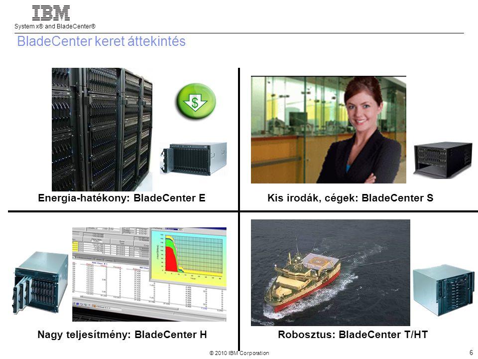System x® and BladeCenter® © 2010 IBM Corporation 6 Robosztus: BladeCenter T/HT Kis irodák, cégek: BladeCenter SEnergia-hatékony: BladeCenter E Nagy teljesítmény: BladeCenter H $ BladeCenter keret áttekintés