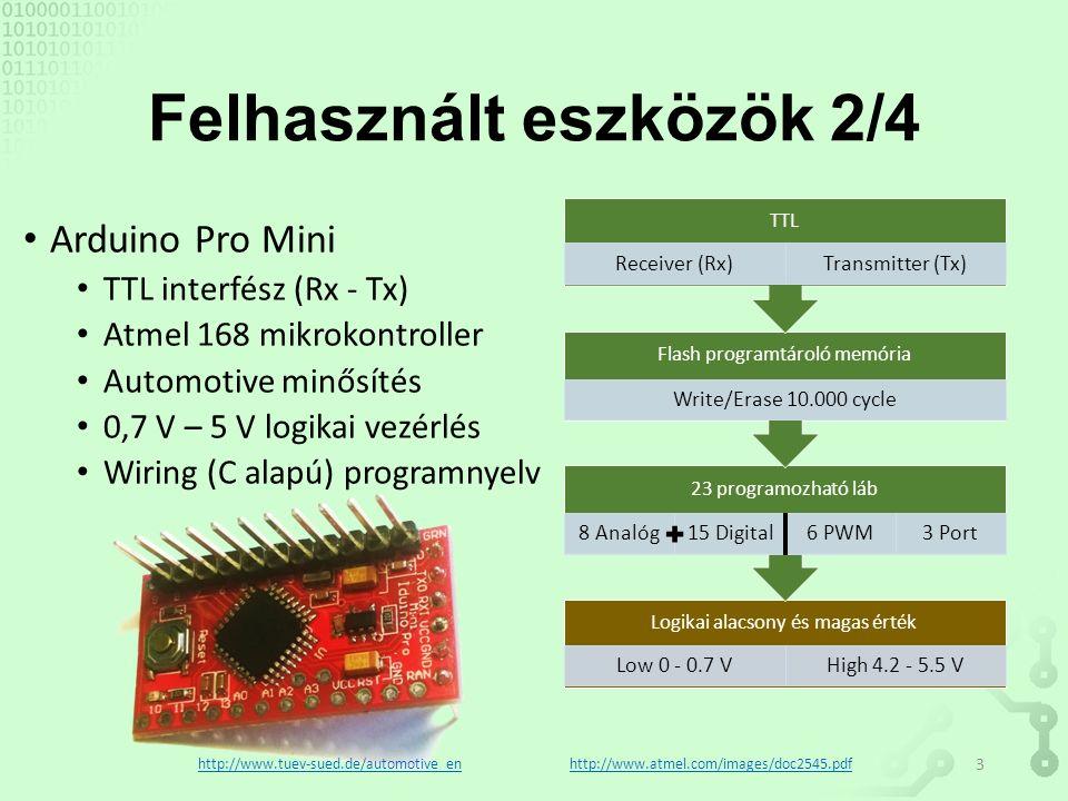 Felhasznált eszközök 2/4 Arduino Pro Mini TTL interfész (Rx - Tx) Atmel 168 mikrokontroller Automotive minősítés 0,7 V – 5 V logikai vezérlés Wiring (C alapú) programnyelv Logikai alacsony és magas érték Low 0 - 0.7 VHigh 4.2 - 5.5 V 23 programozható láb 8 Analóg15 Digital6 PWM3 Port Flash programtároló memória Write/Erase 10.000 cycle TTL Receiver (Rx)Transmitter (Tx) http://www.atmel.com/images/doc2545.pdfhttp://www.tuev-sued.de/automotive_en 3
