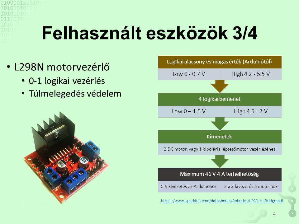 Felhasznált eszközök 3/4 L298N motorvezérlő 0-1 logikai vezérlés Túlmelegedés védelem Maximum 46 V 4 A terhelhetőség 5 V kivezetés az Arduinohoz2 x 2 kivezetés a motorhoz Kimenetek 2 DC motor, vagy 1 bipoláris léptetőmotor vezérléséhez 4 logikai bemenet Low 0 – 1.5 VHigh 4.5 - 7 V Logikai alacsony és magas érték (Arduinótól) Low 0 - 0.7 VHigh 4.2 - 5.5 V https://www.sparkfun.com/datasheets/Robotics/L298_H_Bridge.pdf 4