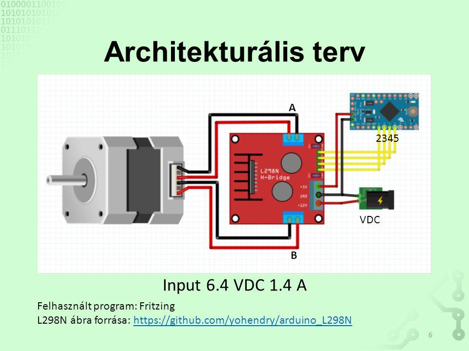 Architekturális terv Input 6.4 VDC 1.4 A Felhasznált program: Fritzing L298N ábra forrása: https://github.com/yohendry/arduino_L298Nhttps://github.com/yohendry/arduino_L298N A B 2345 VDC 6