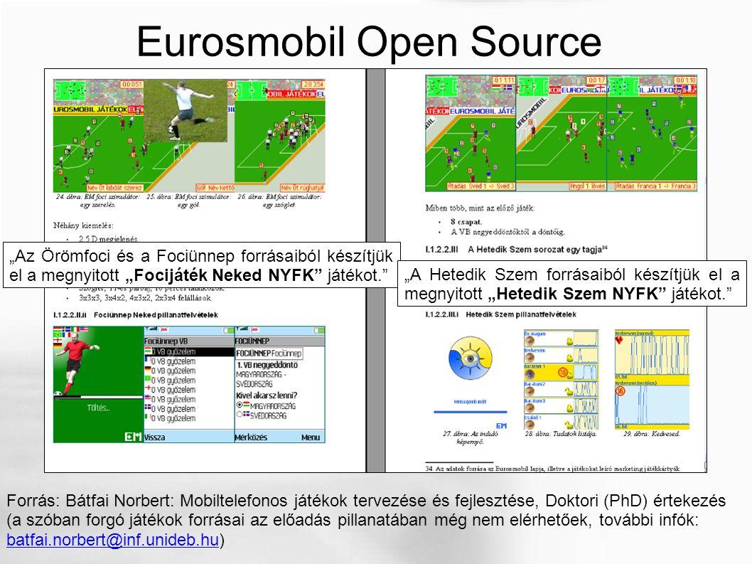 """Eurosmobil Open Source Forrás: Bátfai Norbert: Mobiltelefonos játékok tervezése és fejlesztése, Doktori (PhD) értekezés (a szóban forgó játékok forrásai az előadás pillanatában még nem elérhetőek, további infók: batfai.norbert@inf.unideb.hu) batfai.norbert@inf.unideb.hu """"Az Örömfoci és a Fociünnep forrásaiból készítjük el a megnyitott """"Focijáték Neked NYFK játékot. """"A Hetedik Szem forrásaiból készítjük el a megnyitott """"Hetedik Szem NYFK játékot."""