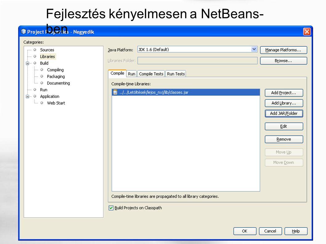 Fejlesztés kényelmesen a NetBeans- ben
