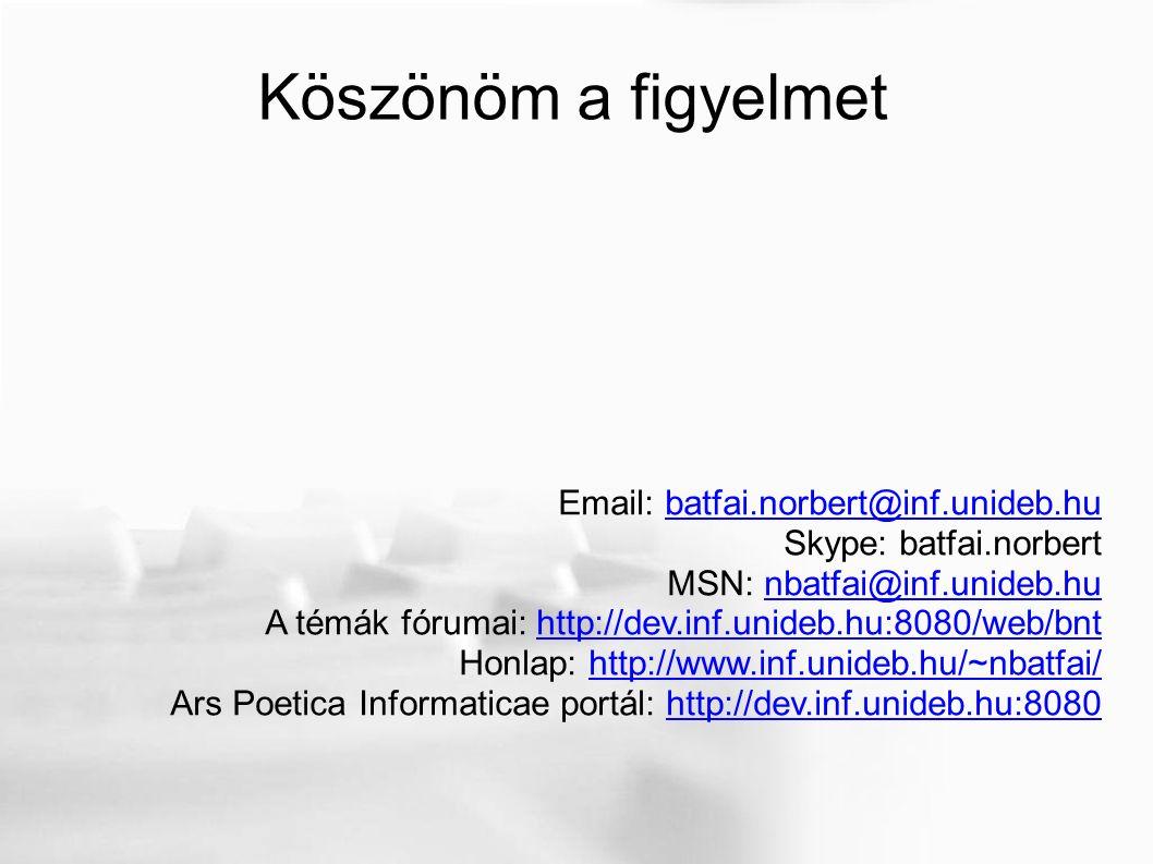 Köszönöm a figyelmet Email: batfai.norbert@inf.unideb.hubatfai.norbert@inf.unideb.hu Skype: batfai.norbert MSN: nbatfai@inf.unideb.hunbatfai@inf.unideb.hu A témák fórumai: http://dev.inf.unideb.hu:8080/web/bnthttp://dev.inf.unideb.hu:8080/web/bnt Honlap: http://www.inf.unideb.hu/~nbatfai/http://www.inf.unideb.hu/~nbatfai/ Ars Poetica Informaticae portál: http://dev.inf.unideb.hu:8080http://dev.inf.unideb.hu:8080