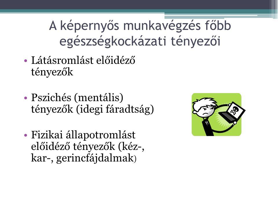 A képernyős munkavégzés főbb egészségkockázati tényezői Látásromlást előidéző tényezők Pszichés (mentális) tényezők (idegi fáradtság) Fizikai állapotr