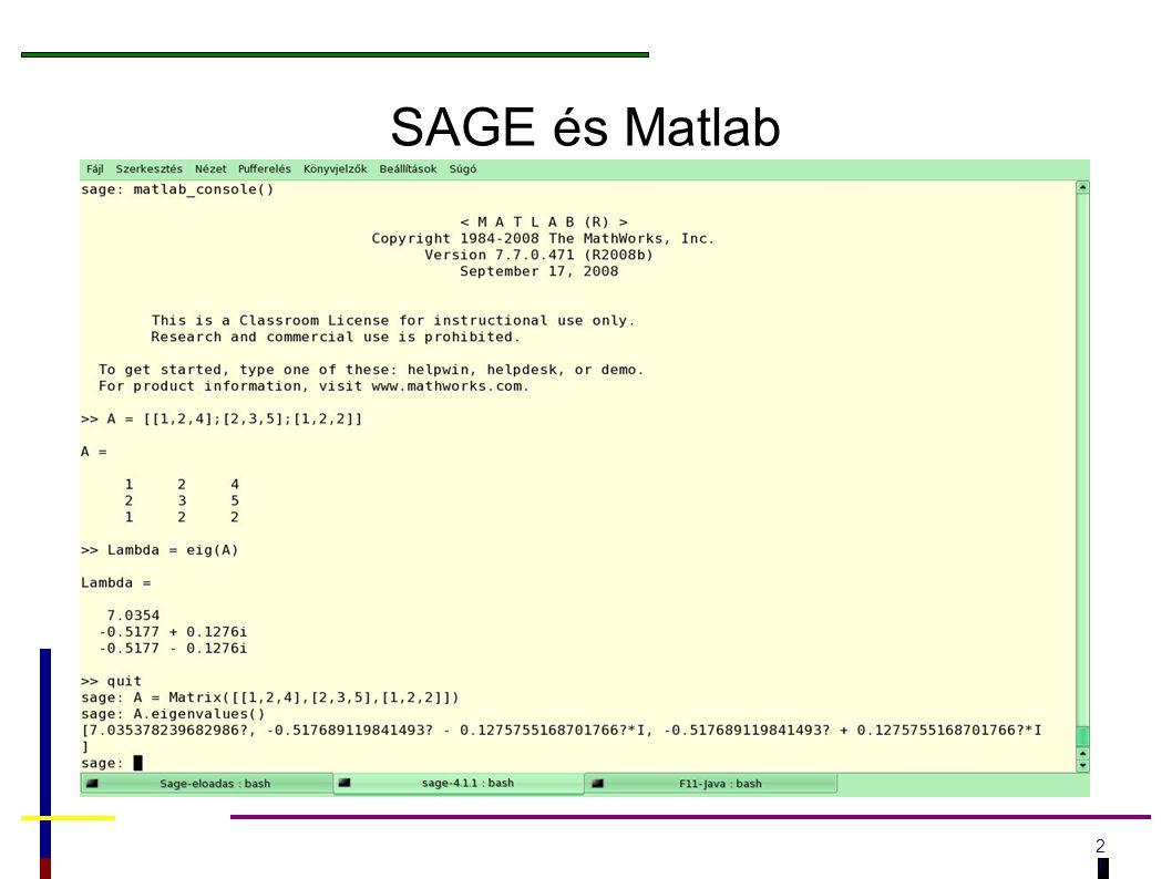 2121 SAGE és Matlab