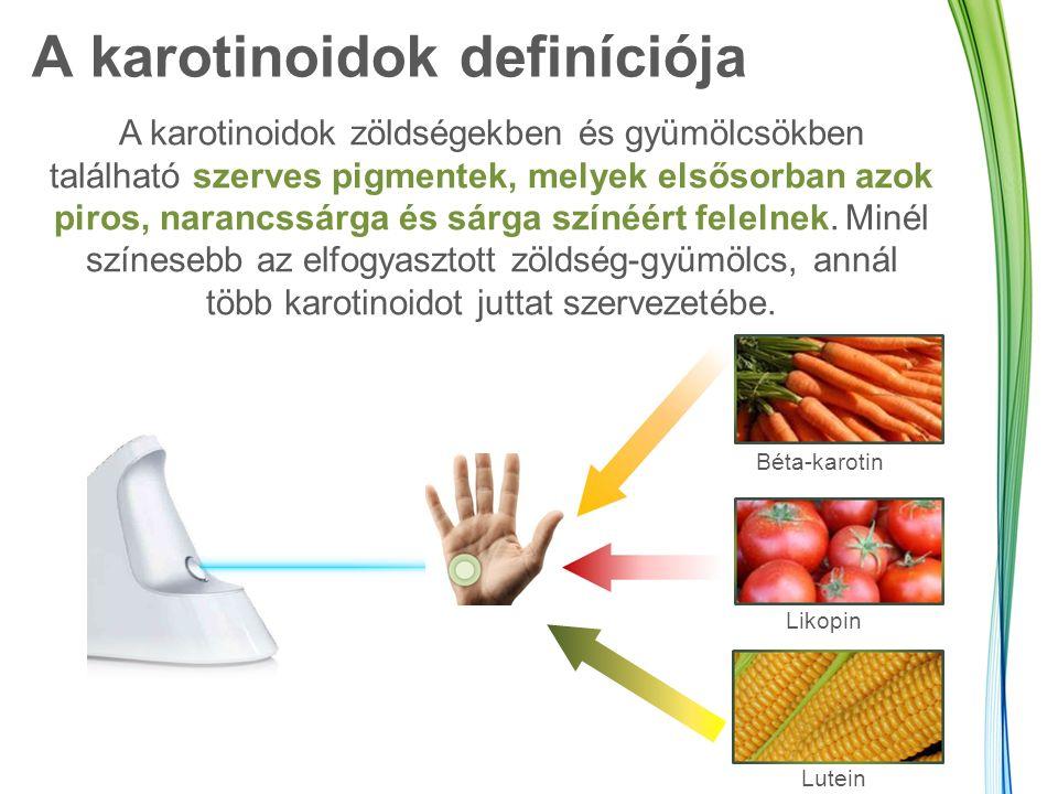 A karotinoidok definíciója A karotinoidok zöldségekben és gyümölcsökben található szerves pigmentek, melyek elsősorban azok piros, narancssárga és sárga színéért felelnek.