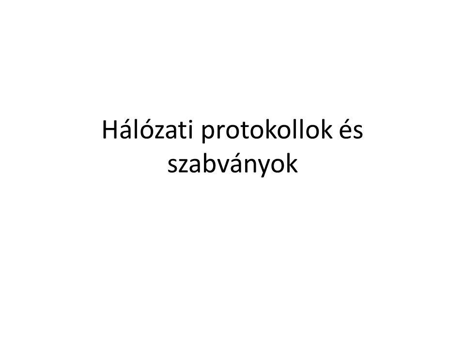 Protokollok Az eszközök közti üzenettovábbítás közös formátumát és szabályrendszerét a hálózati protokollok határozzák meg.